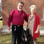 Fred Davis (Owner of Luca's K9 Playhouse) and Carol Gurney with Buddy